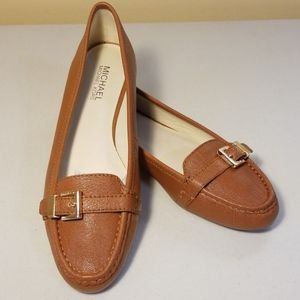 Michael Kors Brown Leather Buckle Loafers